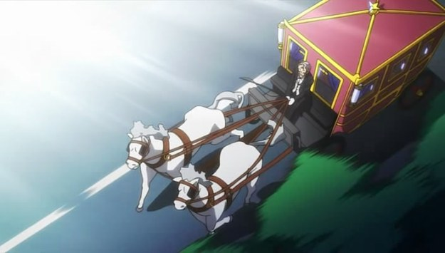 Horse carriage on a high way being chased...